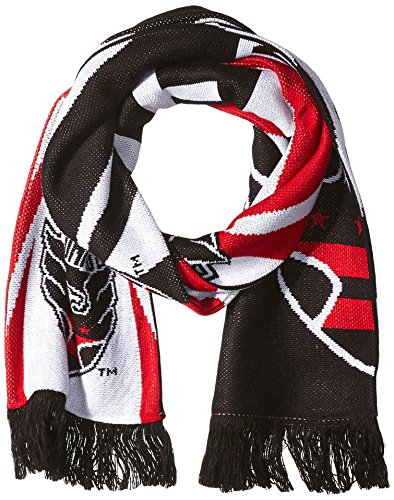 MLS D.C. United Adult Unisex MLS SP17 Fan Wear Jacquard Scarf with Fringe,Osfa,black (Scarf Jacquard United)