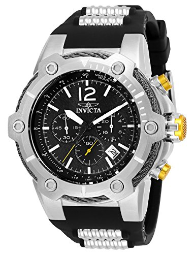 Invicta Men's 'Bolt' Quartz Stainless Steel and Polyurethane Casual Watch, Color:Black (Model: 25472)