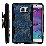 TurtleArmor | Compatible for Samsung Galaxy Note 5 Case | N920 [Hyper Shock] High Duty Proof Holster Clip Cover Kickstand Gel Hard Combo Camouflage Case - Blue Dashes