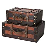 SLPR Crawford Wooden Trunk with Straps (Set of 2, Wine Color)   Old-Fashioned Antique Vintage Style Nesting Trunks for Shelf Home Decor Birthday Parties Wedding Decoration Displays Crafts