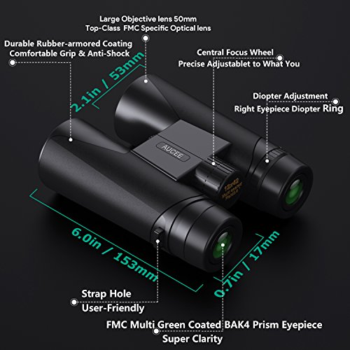 12 x 42 Binoculars for Adults, AUCEE Compact Binoculars for Bird Watching Concerts Football Sports Waterproof Professional HD Binoculars for Travel Hiking-BAK4 Prism FMC Lens with Strap Carry Bag by AUCEE (Image #1)