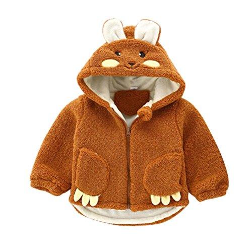 Fullfun Baby Girls Hooded Carton Rabbit Coat Plushy Warm Jacket (Brown, 12M)