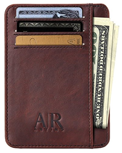 RFID Front Pocket Wallets for Men - Minimalist Genuine Leather RFID Blocking by Artino Collezioni (Diplomat model, Dark - Collection Leather
