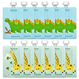reusable baby food pouch 7 oz - Sage Spoonfuls Squeezie 12 Piece Reusable Food Pouch, Dino/Giraffe