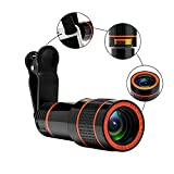 Zwishl 12X Optical Zoom Telescope Lens Clip On Cell Phone Camera Lens for iPhone 6/6s Plus/7/8/SE, Samsung S8/S7/S6/Edge, LG, Moto, HTC, Sony and more