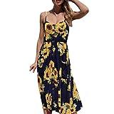 GOTD Women Sunflower Sexy Strap Spaghetti Buttons Off Shoulder Princess Dress Sleeveless Sundress Beach Summer (XL, Navy)
