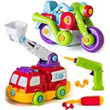 Take Apart Toys Car, STEM Learning Take A Part Building Toy Includes Build Own Game Fire Truck and Motorcycle, Power Tool Drill for Kids, Construction Toy Vehicles, 65 Pieces Game for Boys Ages 4-6