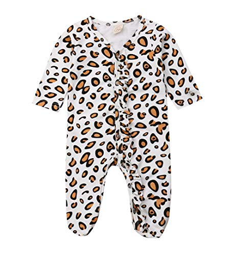 0-9M Newborn Baby Coming Home Clothes Yellow Leopard Print Footies Infant Mitten Cuffs Jumpsuit (0-6M, Leopard)