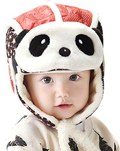 Baby Boys Panda Hats Masks Fleece Lined Winter Crash Helmet Brown