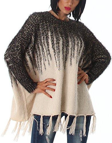 Voyelles - Poncho - Rayas - Manga Larga - para mujer beige y negro