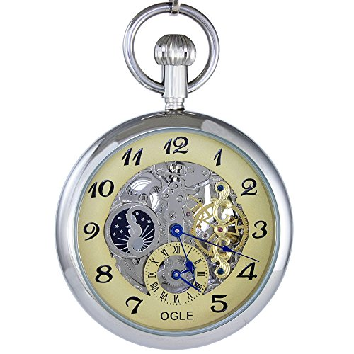 Ogle 3ATM Waterproof Large Size Skeleton Vintage Stainless Steel Moon Phase Double Time Fob Self Winding Automatic Skeleton Mechanical Pocket Watch Chain (Silver (Brown Stainless Steel Pocket Watch)