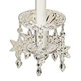 Whole House Worlds The Jewel Drop Crystal Taper Candle Bobeche for Special Occasions and Weddings, 4 Inch Diameter, 4 3/4 Inch Length, By