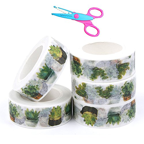 ICYANG 5 Rolls Ultra Sticky Non-Toxic Decorative Craft Washi Tape Cartoon Colored DIY Decorative Stickers, Adhesive Paper Masking Tapes and 1 Pcs Lace Scissors
