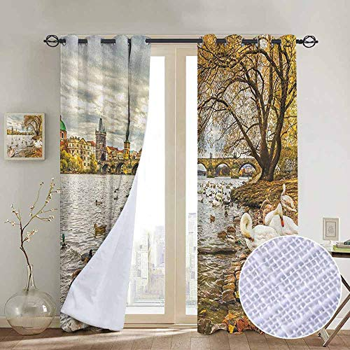 (NUOMANAN Thermal Insulated Blackout Curtain Landscape,Prague Charles Bridge and Old Town Czech Republic Riverside Scenic View with Swans, Gold Grey,Blackout Draperies for Bedroom Living Room)