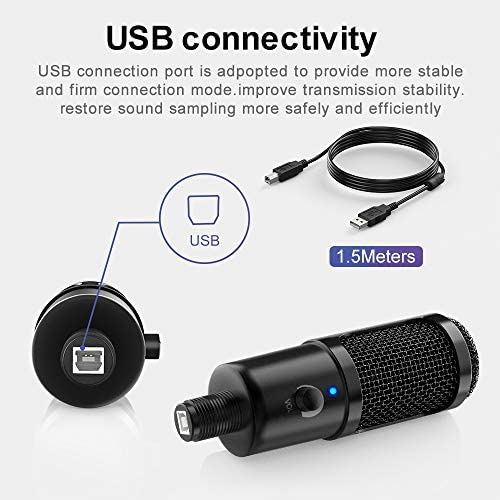 USB Microphone for Computer - Metal Condenser Recording Microphone for Laptop MAC or Windows Cardioid Studio Recording Vocals, Voice Overs,Streaming Broadcast and YouTube Videos