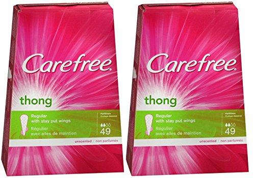 Carefree Thong Pantiliner Unscented 49 Liners per Box, 2 Pack (Thong Kotex Pantiliners)