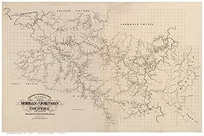 Morgan & Johnson Counties Kentucky 1880x - Wall Map with Homeowner Names - Old Map Reprint