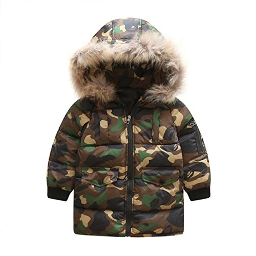 Kids Handsome Camouflage Down Coat Boys Girls Thick Coat Padded Winter Adorable Jacket Cloak (6T, Camouflage)