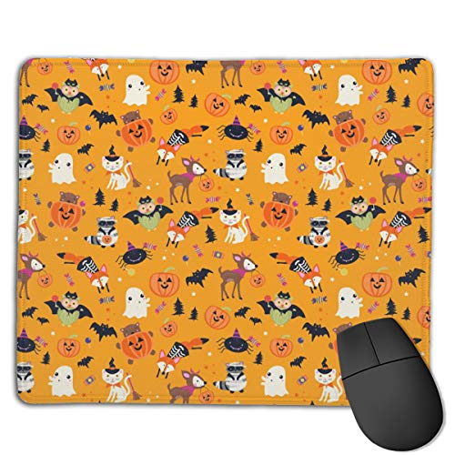 Woodland Halloween Characters Computers Thick Keyboard Non-Slip Rubber Base Mouse pad Mat 7 X 8.6 inch ()