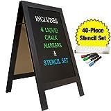 Large Sturdy Handcrafted 40'' x 20'' Wooden A-Frame Chalkboard Display / 4 Liquid Chalk Markers & Stencil Set/Sidewalk Chalkboard Sign Sandwich Board/Chalk Board Standing Sign (Black)
