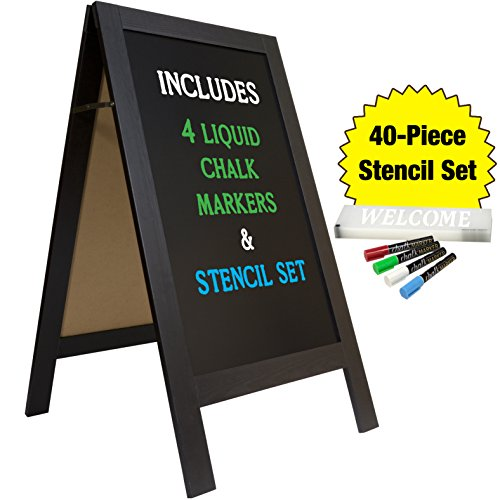 "Large Sturdy Handcrafted 40"" x 20"" Wooden A-Frame Chalkboard Display / 4 Liquid Chalk Markers & Stencil Set/Sidewalk Chalkboard Sign Sandwich Board/Chalk Board Standing Sign (Black)"
