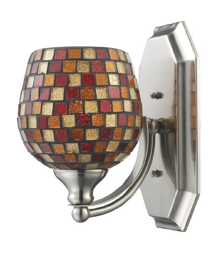 Elk 570-1N-MLT 1-Light Vanity In Satin Nickel and Multi Mosaic Glass (Mlt Vanity Vanity Light)