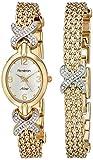 Armitron Women's 75/3176SET Swarovski Crystal Accented Gold-Tone Watch and Bracelet Set