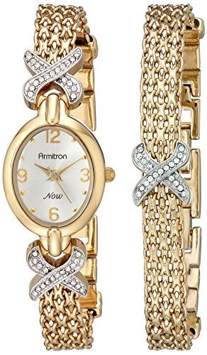 Armitron Women's 75/3176SET Swarovski Crystal Accented Gold-Tone Watch and Bracelet Set