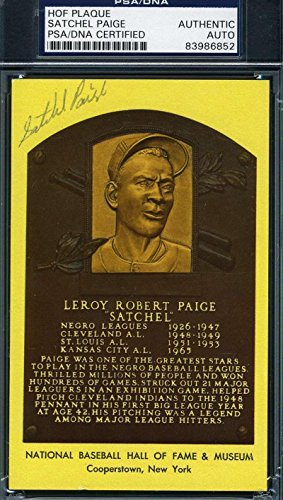 Mlb Card Plaques (Satchel Paige Signed Gold Hof Plaque Authentic Autograph - PSA/DNA Certified - MLB Autographed Baseball Cards)