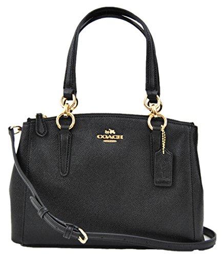 COACH Crossgrain Leather Mini Christie Carryall Crossbody Handbag (Black) by Coach