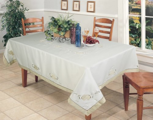 Creative Linens Embroidered Floral Cutwork Applique Tablecloth 68x120 Rectangular Ivory Holiday