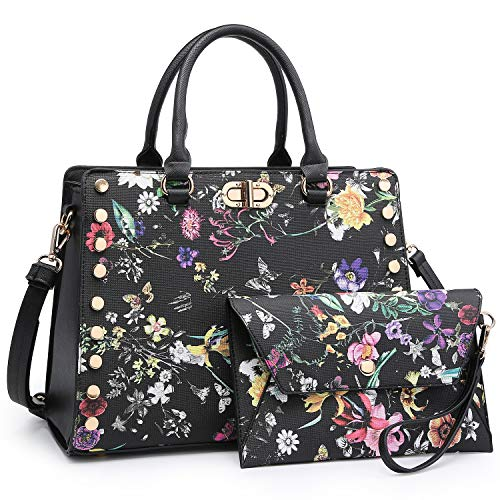 (Designer Handbags Purses For Women Tassel Lock Satchel Bags Top Handle Shoulder Bag With Matching Wallet (7579 Black Flower))