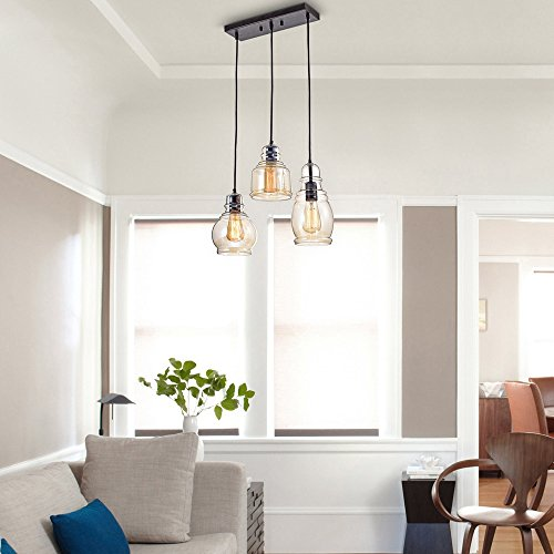 3 Light Pendant Black