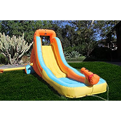 Sportspower My First Inflatable Water Slide - Heavy-Duty Outdoor Slide with Water Cannon and Splash Pool - Air Blower Included: Toys & Games