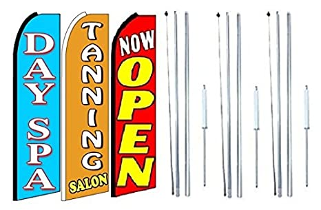 Beauty Salon Barber King Size  Swooper Flag Sign  W//Complete 2 Full Set