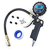 AstroAI Digital Tire Inflator Pressure Gauge, Medium 250 PSI Air Chuck Compressor Accessories Heavy Duty Rubber Hose Quick Connect Coupler 0.1 Display Resolution, Black
