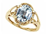 Tommaso Design Oval 10x8mm Genuine Aquamarine Ring 14kt Size 9