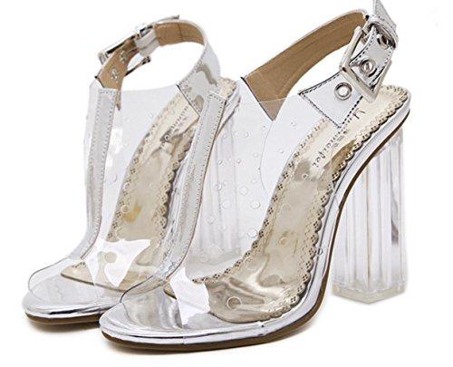 YCMDM Sandali donna Pattini banchetti trasparenti del film Principessa di cristallo alla moda Tacchi alti aperti , silver , 37