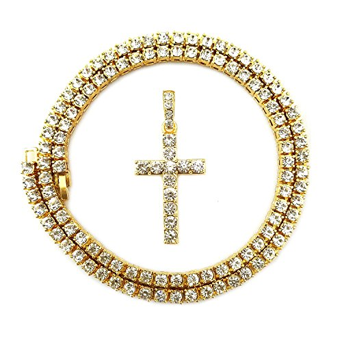 HH Bling Empire Mens Iced Out Hip Hop Gold Artificial Diamond Ankh Cross cz Tennis Chain 22 Inch (Tennis Chain & Cross C)