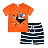 AJia Kids 2 Piece Short Sleeve Shirt and Shorts for 1 to 5 Years Olds Little Boy (3t, Orange)