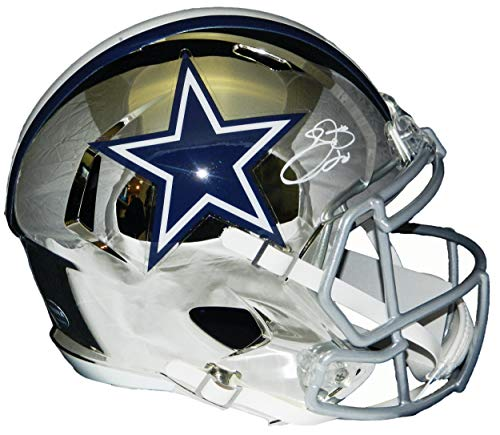 Emmitt Smith Autographed Helmet - Chrome Riddell Full Size Replica - Autographed NFL Helmets ()