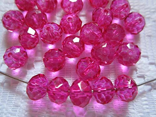 (Calvas 50pcs Hot Pink Fuschia Magenta Rondelle Crystal Beads 8mm x 6mm)