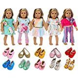 ZITA ELEMENT American 18 Inch Girl Doll Clothes Outfits Lot 7 = 5 Daily Costumes Clothes + 2 Random Style Shoes for 18 Inch Doll Accessories