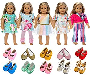 5 Sets Dress Clothes+ 2 Shoes for American Girl 18 Inch Doll
