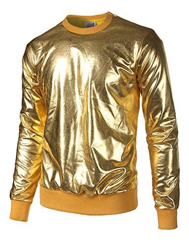 (JOGAL Metallic Gold Shirts Nightclub Styles Hoodies Medium Gold)