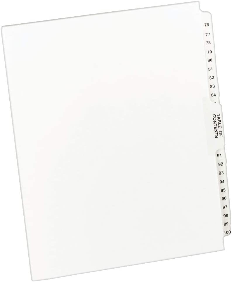 Avery Avery-Style Legal Side Tab Dividers, 26-Tab, 76-100, Letter Size, White, 25 per Set (11397) : Binder Index Dividers : Office Products