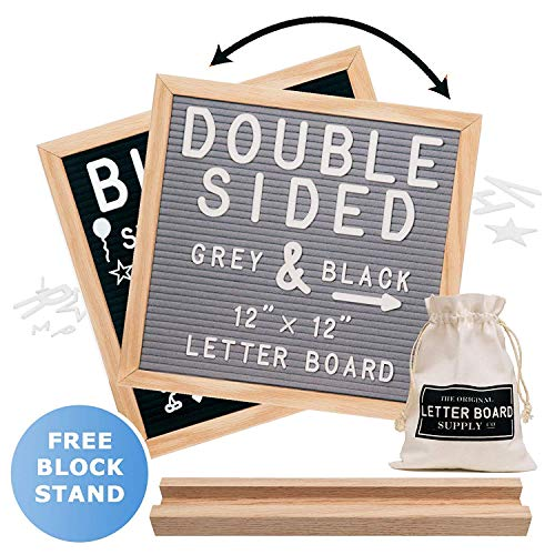 Felt Letter Board 12x12 | Double Sided Letter Board - Gray & Black | Fully Clean Cut Letters, Oak Stand, Large & Small Letters. Felt Board with Clean-Cut Letters, Symbols. Letters Board