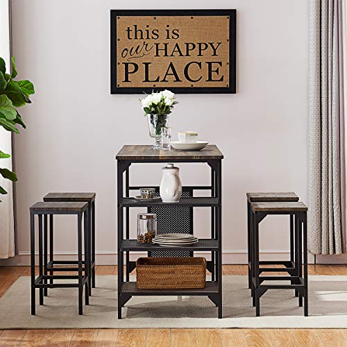O&K Furniture 5-Piece Dining Room Table Set, Bar Pub Table Set, Industrial Style Counter Height Kitchen Table with 4 Backless Bar stools for Dining Area, Gray-Brown Finish ()