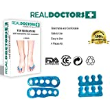 Medical Gel Toe Separators & Toe Spreader 4 Piece Kit, Free E-Book Bunion Care, Hammer Toes, Claw Toes, Crooked Toes. Used as Toe Spacers. Recommended By Athletes By Real Doctors