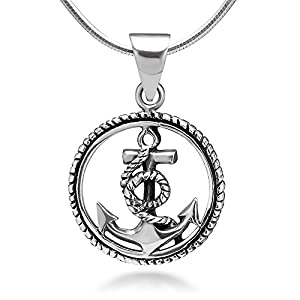 Chuvora 925 Sterling Silver Navy Sailor Anchor in Rope Wheel Pendant Necklace, 18 inches